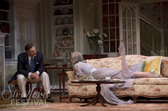 Ben Carlson (left) as Charles and Michelle Giroux as Elvira in Blithe Spirit. Photo by David Hou.